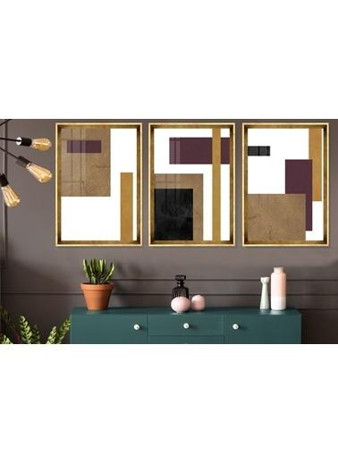 Çerçeve Home  Gold Decorative Gold Çerçeve Tablo Seti Altın